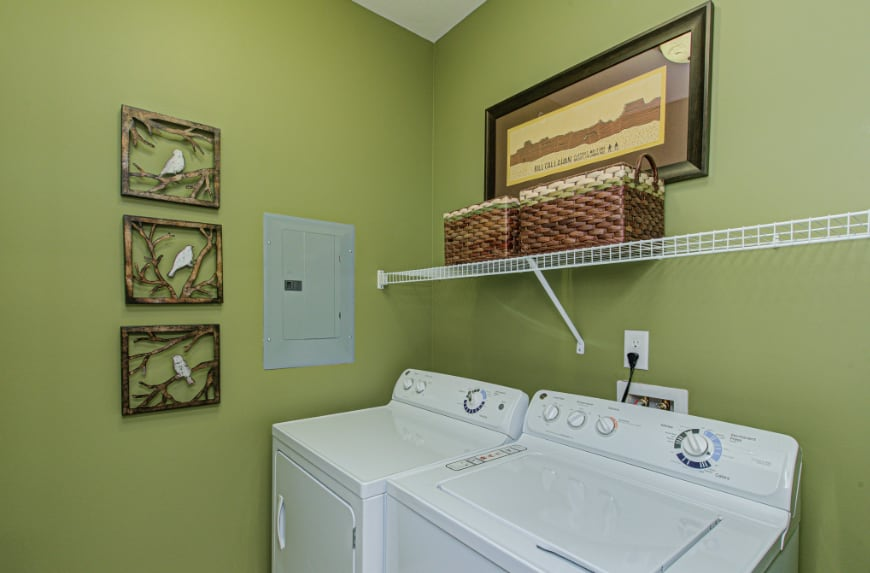 Laundry room in a Fishers townhome.