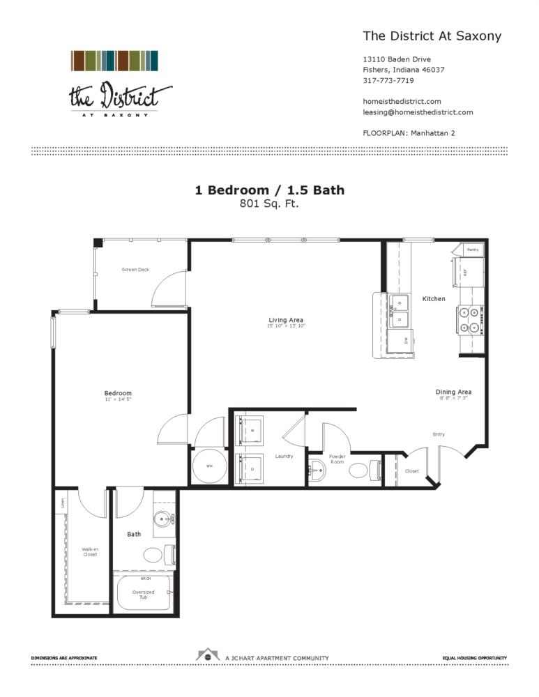 Manhattan 2 1 Bedroom Floor Plan | The District at Saxony Apartment ...